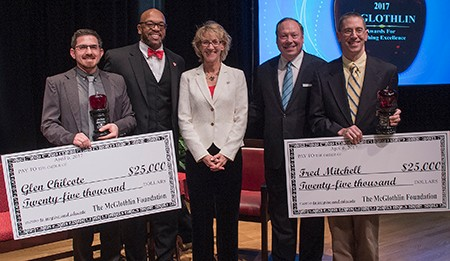 Teachers Glen Chilcote and Fred Mitchell were honored as winners of the McGlothlin Awards for Teaching Excellence at a ceremony April 6 at Radford University.