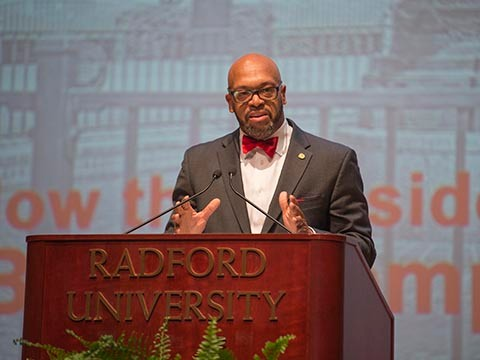 Radford University President Brian O. Hemphill addresses the 2017 Convocation.