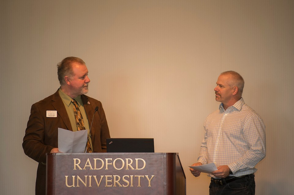 Radford University Provost Graham Glynn and faculty member Kevin Ayers perform a skit written by Provost Glynn during the fourth annual Institutional Effectiveness Day.