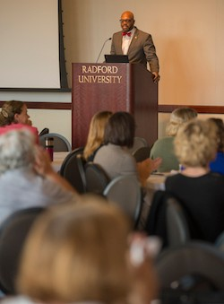 Radford University President Brian O. Hemphill addresses the audience during the fourth annual Institutional Effectiveness Day.