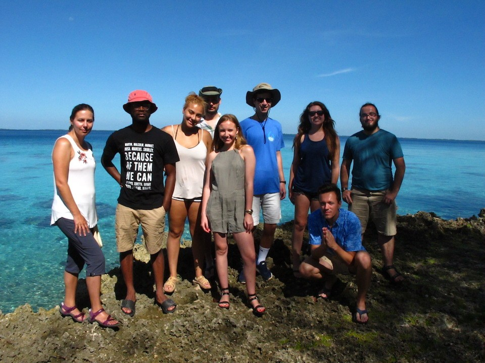 Assistant Professor Theresa Schroeder, left, with the group of students in Cuba.