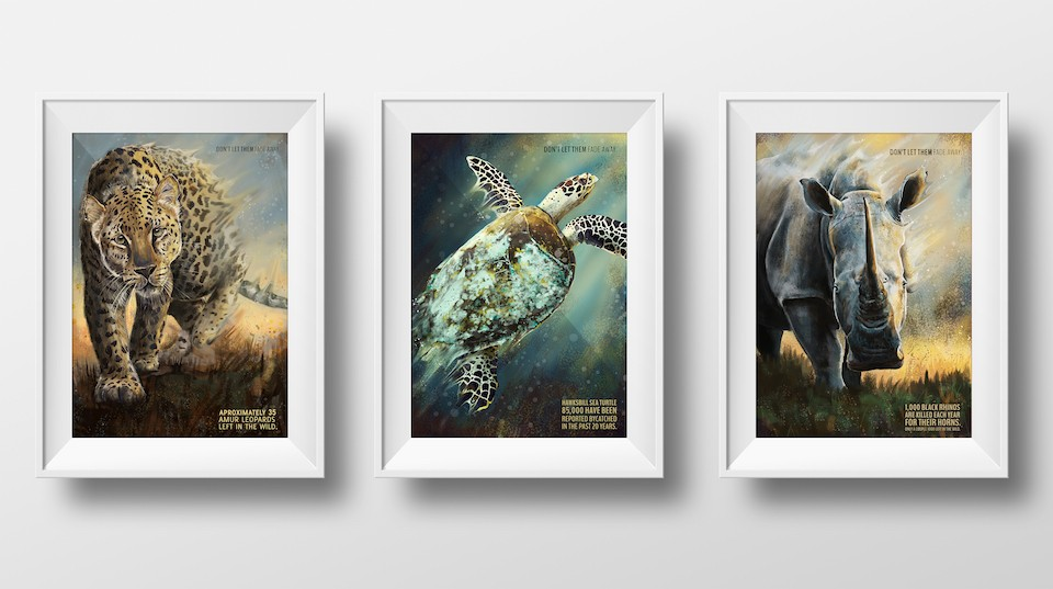"The digital painting series, ""Don't Let Them Fade Away,"" focused on the plight of endangered species and focused on three separate animals: the Amur leopard, the Hawksbill sea turtle and the black rhino."