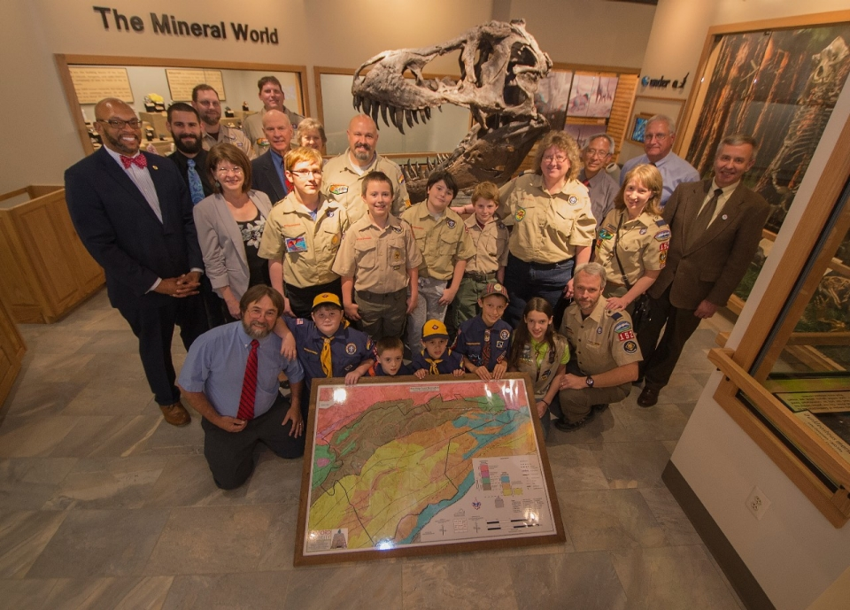 Geology Department presents geological maps to Scouts.