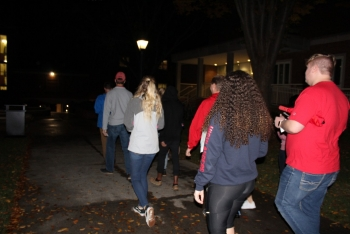 Students venture across campus during the November campus safety walk.