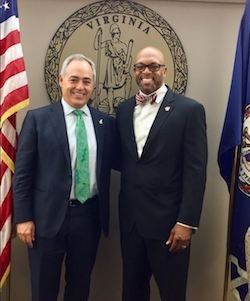 George Mason University President Angel Cabrera, left, and Radford University President Brian O. Hemphill, right.