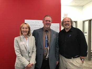 From left to right: CHBS Dean Katherine Hawkins, Provost and Vice President for Academic Affairs Graham Glynn, and Professor of English David Beach.