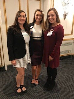 Left to right: PRSSA Secretary Grace Milauskas, PRSSA Chapter President Hannah Shouse and PRSSA Vice President Clare McMurry.