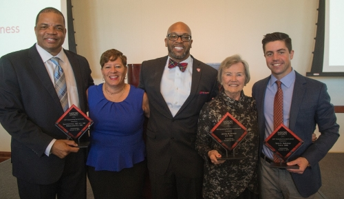 David Smith '85, M.S. '87, Pebbles Smith '85, President Brian O. Hemphill, Ph.D., Jennie Teass Allman '67 and Sean Gallahan '08 at the 2017 Alumni Volunteer Leadership Business Lunch and Awards Ceremony.