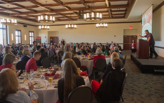 President of the Radford University Alumni Association Kevin Rogers '87 addresses the audience during his closing remarks at the Alumni Volunteer Leadership Business Lunch and Awards luncheon.