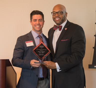 2017 Young Alumnus Merit Award winner Sean K. Gallahan '08 with President Brian O. Hemphill after Friday's Alumni Volunteer Leadership Business Lunch and Awards luncheon.