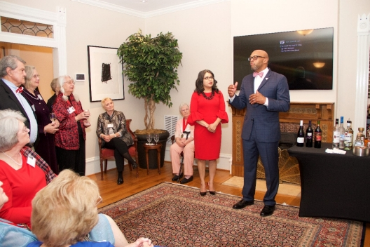 President Brian O. Hemphill, Ph.D., and Radford University First Lady Dr. Marisela Rosas Hemphill welcome alumnae from the Class of 1967 to the Governor Tyler House to celebrate their Golden Reunion.