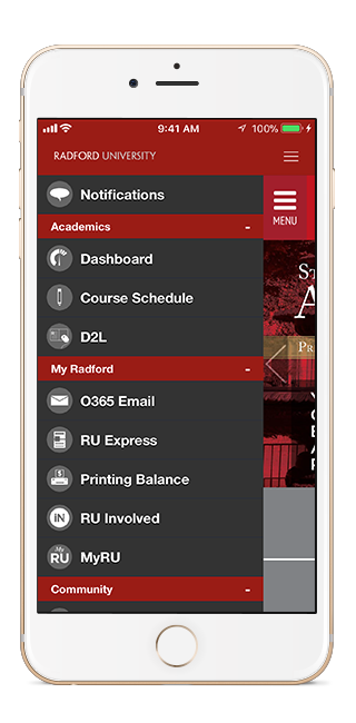 image of the RU mobile app on an iPhone