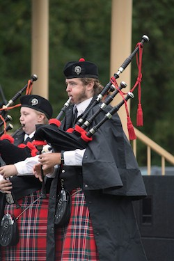 The Radford University Pipes and Drums Band performing at the 2016 Highlanders Festival.
