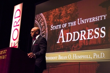 President Brian O. Hemphill addresses the Radford family in his inaugural State of the University Address on Oct. 6.