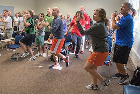 Health and physical education professionals from regional K-12 schools and a group of Radford University physical and health education teaching majors recently participated in the VAHPERD workshop on campus.