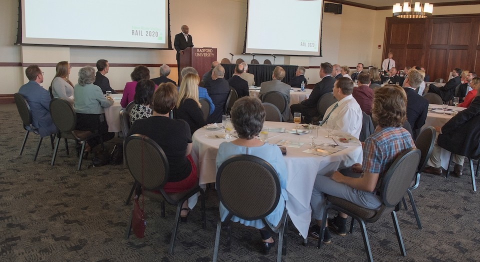 President Hemphill speaks at the New River Rail 2020 Legislative Reception on Sept. 20 in Kyle Hall.