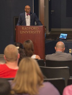 Radford University President Brian O. Hemphill addresses students
