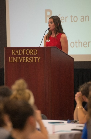 Student Government Association President Julianna Stanley talks at the Radford University Fear 2 Freedom event on Sept. 27.