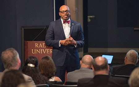 Radford University President Brian O. Hemphill welcomed the university's faculty for conversations during two Presidential Open Forums sessions in the Hulburt Student Center auditorium on Sept. 5 and 6.