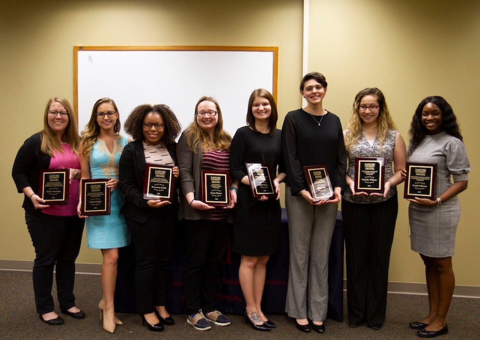 2018 Graduate Student Award recipients (left to right): Emily Armstrong, Stefani Szkalak, Breyuana Smith, Jessica Mattox, Ashley Youngs, Rebecca Cain, Michelle Williams and Kaylah Galloway.
