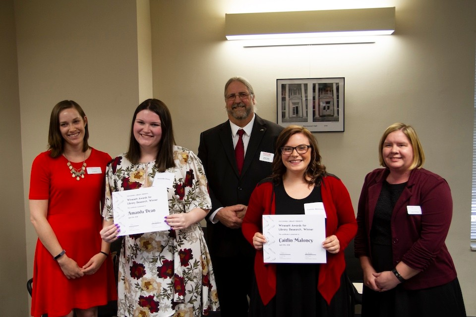 Left to right: Liz Bellamy, Amanda Dean, McConnell Library Dean Steve Helm, Caitlin Maloney and Lisa Dinkle.