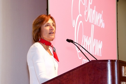 Photo Gallery: Anita Williams gives an emotional speech during the Partners in Excellence Celebration