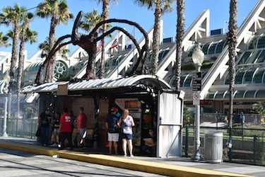 A trolley station outside the convention center where Comic-Con is held.