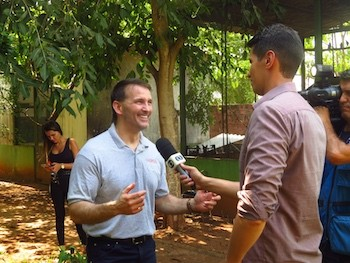 Criminal Justice Professor Egan Green discussing animal trafficking with a Brazilian TV station.