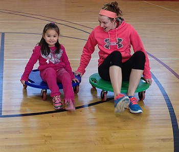 School children ages 5-11 are invited to spend Saturday mornings in February running, jumping and playing in the Peters Hall gymnasium at Radford University.
