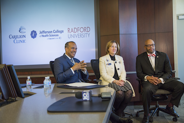 L-R: Jefferson College of Health Sciences President Nathaniel Bishop, Executive Vice President of Carilion Clinic Jeanne Armentrout and Radford University President Brian Hemphill.