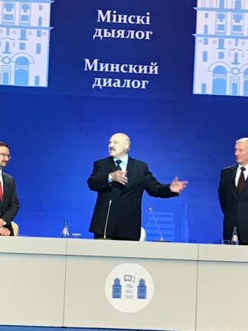 Republic of Belarus President Alexander Lukashenko speaks at the Minsk Dialogue Forum. On the left stands, Thomas Greminger, chairman of the Organization for Security and Cooperation in Europe.