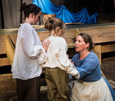 "Mary Draper Ingles, played by Robyn Berg, speaks to her children during a dress rehearsal of ""Walk to Freedom – The Mary Draper Ingles Story."""