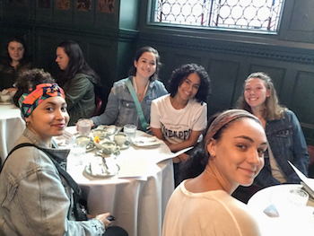 Students at the Victoria and Albert Museum, at which they had afternoon tea at the London museum.