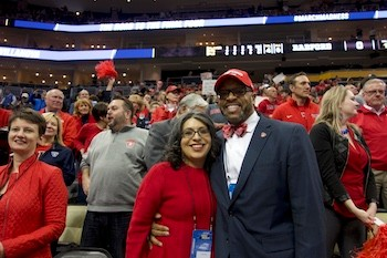 Radford University President Brian O. Hemphill and his wife Marisela Rosas Hemphill at the game.