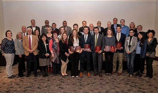 Radford University's Davis College of Business and Economics presented student awards and inducted 21 student members into its Beta Gamma Sigma honor society chapter in ceremonies on Nov. 27 at Kyle Hall.