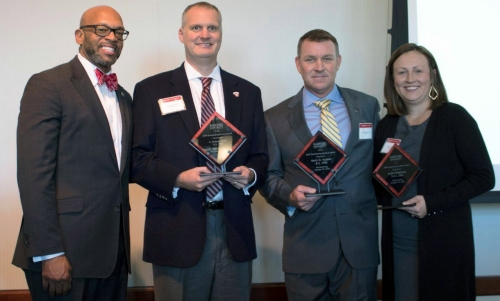 Radford University President Brian O. Hemphill with 2018 Alumni Volunteer Leadership honorees Anthony Smith '98, retired Col. Kevin Hudson '90 and Audra Shekleton '04.