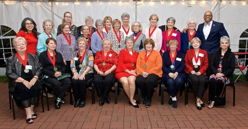 Alumnae celebrating their Golden Reunion gathered with President Brian O. Hemphill, Ph.D. and Radford University First Lady Marisela Rosas Hemphill, Ph.D. at the Governor Tyler House on Oct. 20.
