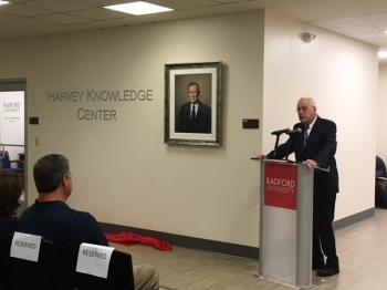 Local businessman and longtime Radford University supporter George Harvey Sr. speaks at the unveiling of the Harvey Knowledge Center in McConnell Library.
