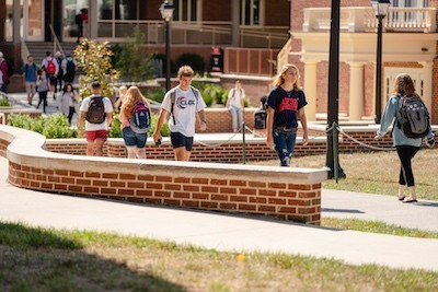 Students walk to class during their first week back on campus.