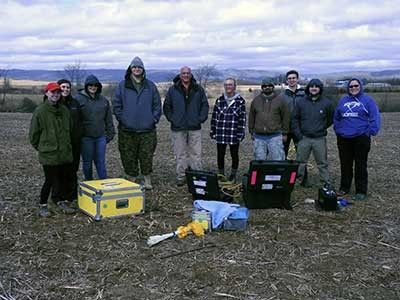 Department of Physics Professor Rhett Herman's geophysics class spent the spring semester at the New River Valley Commerce Park surveying a parcel of land targeted at a specific high-tech client.