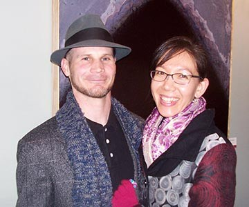Shaun C. Whiteside (left) and Sidra Kaluszka (right) at the opening of their joint show at the Montgomery Museum and Lewis Miller Regional Art Center.