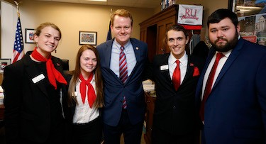 Radford University students met with Delegate Hurst and his session aide, Jack Foley '18.