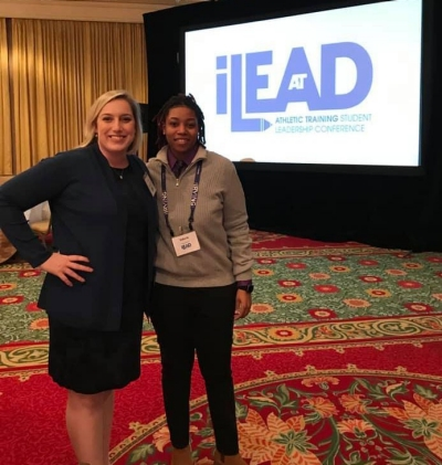 Radford University Health and Human Performance Instructor Andrea Bender and junior Valerie Poole represented the university at the National Athletic Trainers' Association iLEAD 2019 national conference in Irving, Texas in January.
