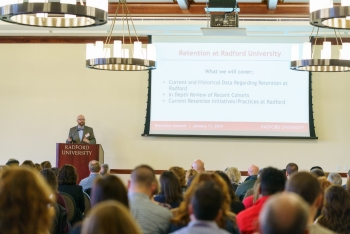 Assistant Vice President for Student Success and Retention presents at the inaugural Retention Summit on Jan. 17.