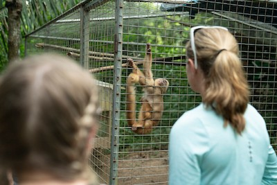 Drew Myers, right, and Morrgan Duncan, left, look at a monkey at an animal rehabilitation center in Peru.