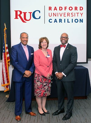 Left to right: Jefferson College of Health Sciences President Nathaniel L. Bishop, D.Min., Executive Vice President of Carilion Clinic Jeanne Armentrout and Radford University President Brian O. Hemphill, Ph.D.