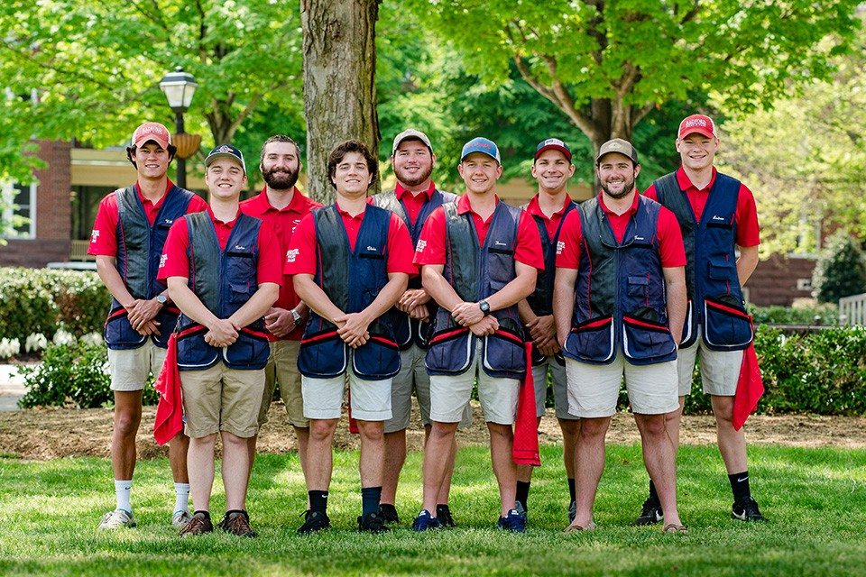 Thomas Armel (front, second from right) pictured with the Skeet and Trap Club.
