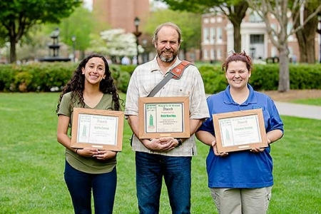 Radford University honored three individuals for their commitment to campus sustainability with the 2018-19 Staff Senate Keep'n It Green awards.