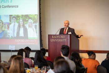 Stateson Homes President Todd Robertson addresses students at the JumpStart Career Development Conference on March 2.