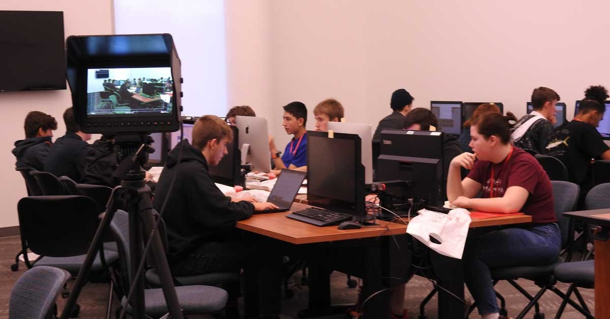 Students practice and learn cybersecurity skills during the final round of RU Secure Capture the Flag competition.
